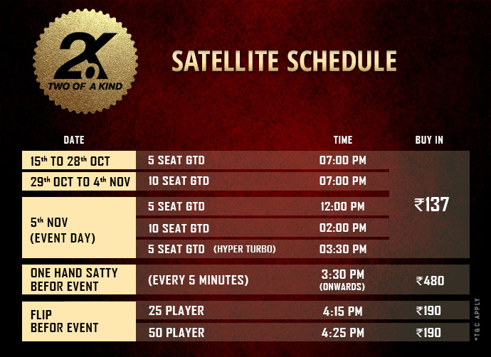 Two of a Kind – 2.o.K Poker Tournament Schedule