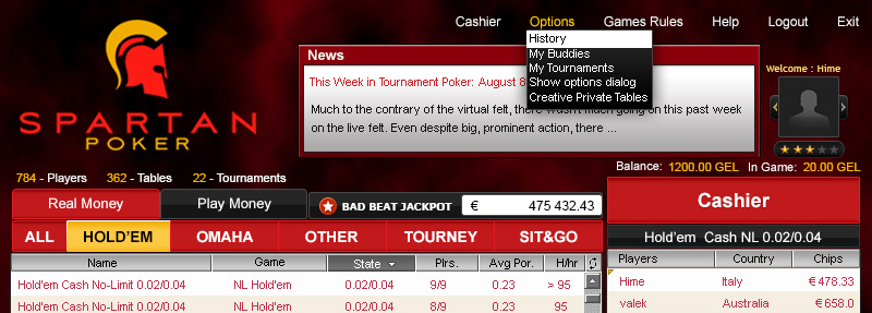The Spartan Poker Add/Change Avatar Feature